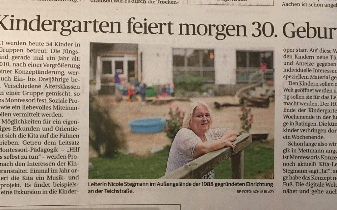 Die Rheinische Post bericht über unser Jubiläum